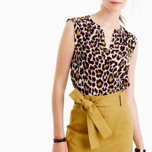 J.CREW | Cuffed-Sleeve Top In Leopard Print